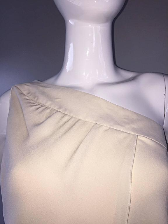 Vintage Girogio Armani 1980s Ivory One Shoulder 80s Silk Cropped Blouse / Top  8