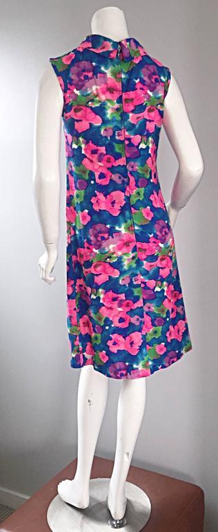 Women's Chic Vintage 1960s Floral Watercolor Print A - Line 60s Colorful Dress  For Sale