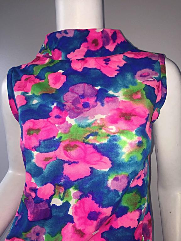 Purple Chic Vintage 1960s Floral Watercolor Print A - Line 60s Colorful Dress  For Sale