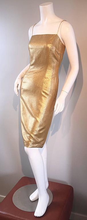 1950s Georgette Trilere For Bullocks Wilshire Gold Silk