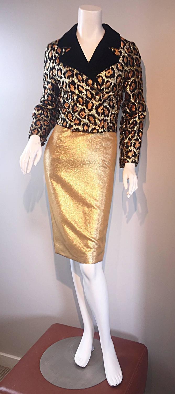 Late 50s Early 60s Leopard Cheetah Print Silk Metallic