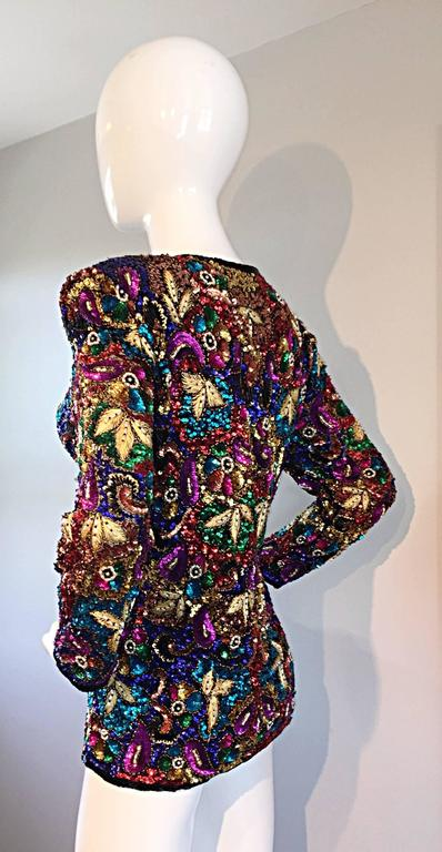 Women's Spectacular Vintage Sequined and Beaded Silk Jacket All - Over Sequins For Sale