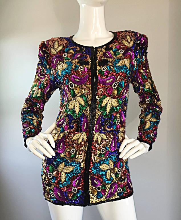 Black Spectacular Vintage Sequined and Beaded Silk Jacket All - Over Sequins For Sale