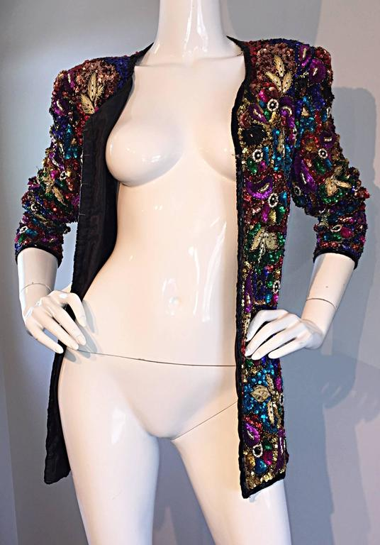 Spectacular Vintage Sequined and Beaded Silk Jacket All - Over Sequins For Sale 1