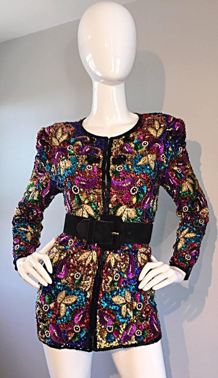 Spectacular Vintage Sequined and Beaded Silk Jacket All - Over Sequins For Sale 2