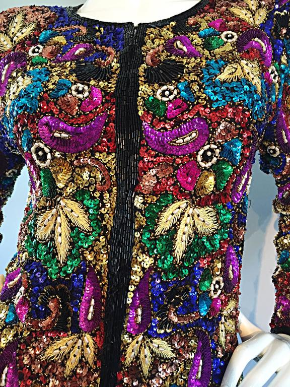Spectacular Vintage Sequined and Beaded Silk Jacket All - Over Sequins In Excellent Condition For Sale In San Francisco, CA