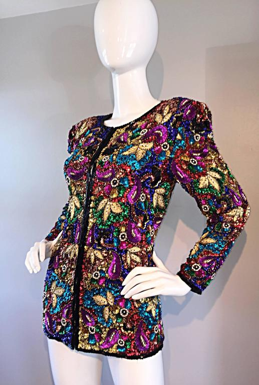 Spectacular Vintage Sequined and Beaded Silk Jacket All - Over Sequins For Sale 3