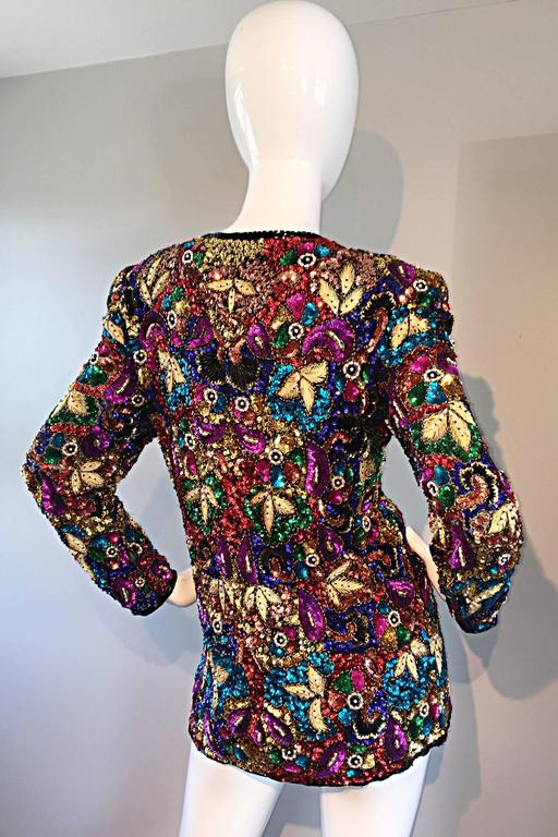 Spectacular Vintage Sequined and Beaded Silk Jacket All - Over Sequins For Sale 4