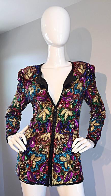 Spectacular Vintage Sequined and Beaded Silk Jacket All - Over Sequins For Sale 5