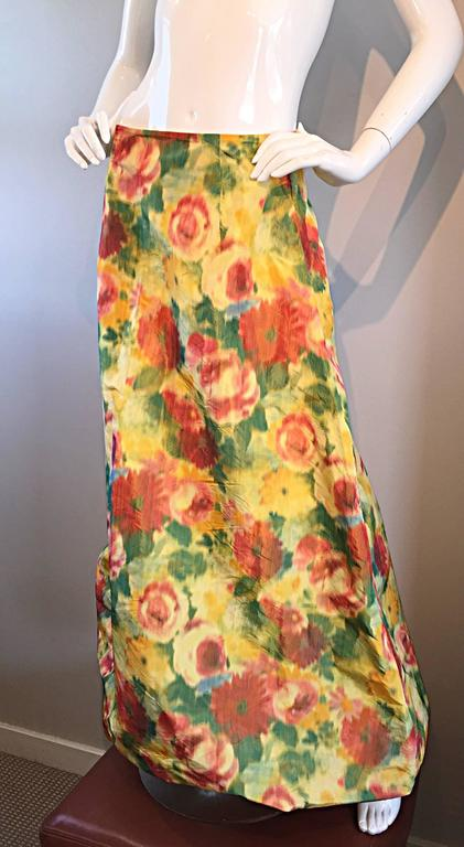dc9a69aab267 Beautiful Vintage Watercolor Floral Yellow Silk Taffeta Full Length Bubble  Skirt For Sale 3
