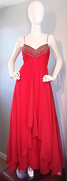 Exquisite 1970s Lipstick Red Chiffon Rhinestone Beaded Vintage 70s Goddess Gown  2