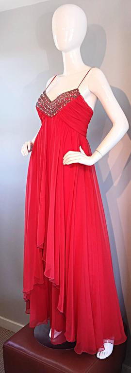 Exquisite 1970s Lipstick Red Chiffon Rhinestone Beaded Vintage 70s Goddess Gown  3