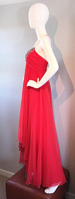 Exquisite 1970s Lipstick Red Chiffon Rhinestone Beaded Vintage 70s Goddess Gown  4