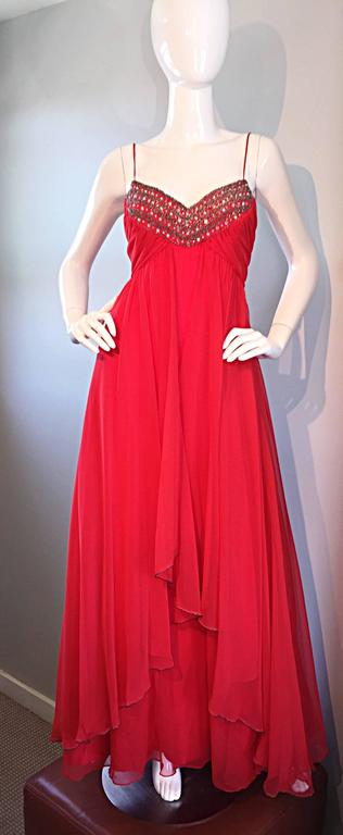 Exquisite 1970s Lipstick Red Chiffon Rhinestone Beaded Vintage 70s Goddess Gown  9