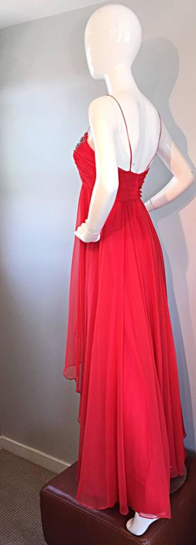 Exquisite 1970s Lipstick Red Chiffon Rhinestone Beaded Vintage 70s Goddess Gown  7