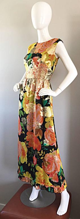 Brown Amazing 1970s Colorful Chiffon Metallic Floral Ruffled Boho Vintage Maxi Dress For Sale