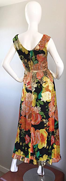Amazing 1970s Colorful Chiffon Metallic Floral Ruffled Boho Vintage Maxi Dress For Sale 3