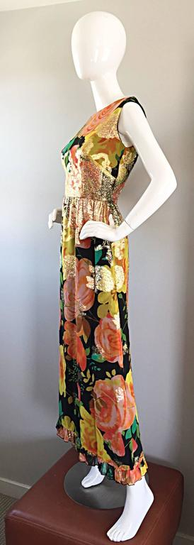 Amazing 1970s Colorful Chiffon Metallic Floral Ruffled Boho Vintage Maxi Dress For Sale 2