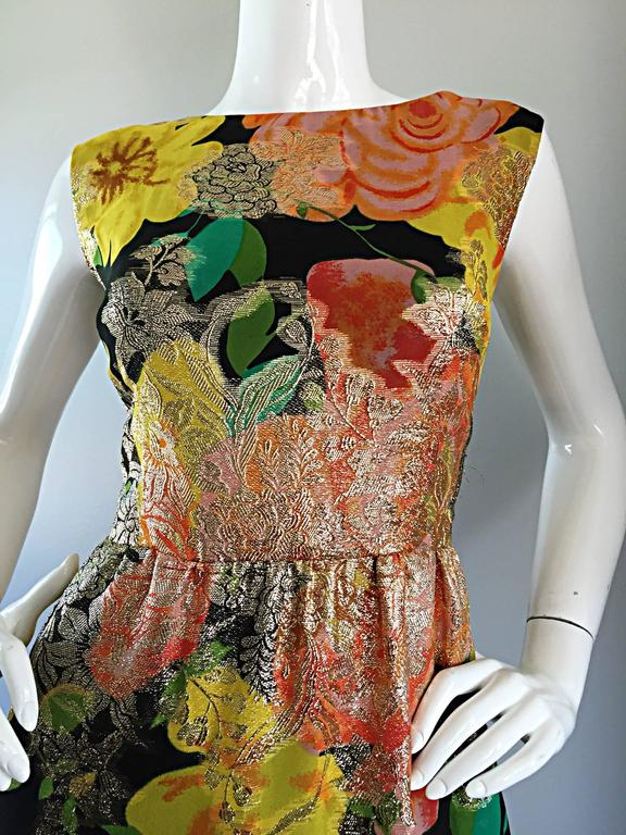 Amazing 1970s Colorful Chiffon Metallic Floral Ruffled Boho Vintage Maxi Dress For Sale 1