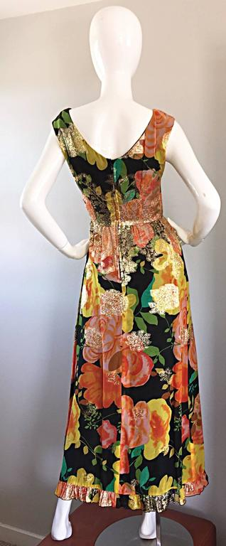 Amazing 1970s Colorful Chiffon Metallic Floral Ruffled Boho Vintage Maxi Dress In Excellent Condition For Sale In San Francisco, CA