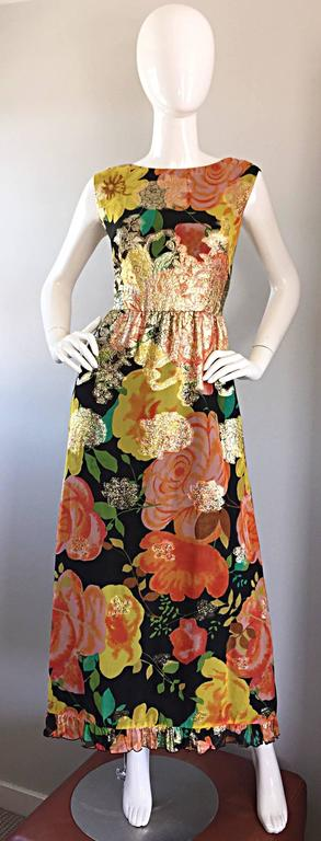 Amazing 1970s Colorful Chiffon Metallic Floral Ruffled Boho Vintage Maxi Dress For Sale 4