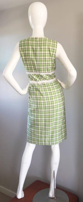 Oscar de La Renta Size 6 / 8 Saks 5th Ave Green + White Checkered Plaid Dress  For Sale 2