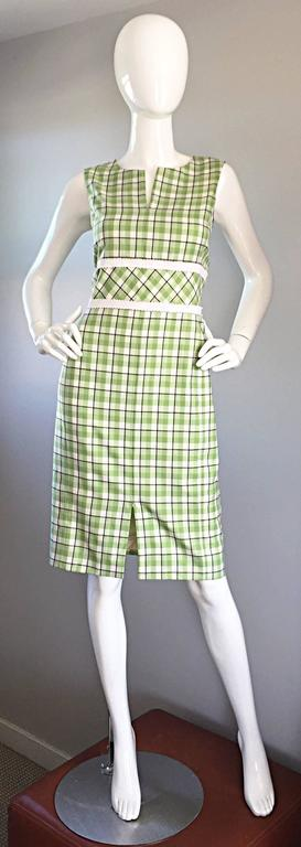 Oscar de La Renta Size 6 / 8 Saks 5th Ave Green + White Checkered Plaid Dress  For Sale 4