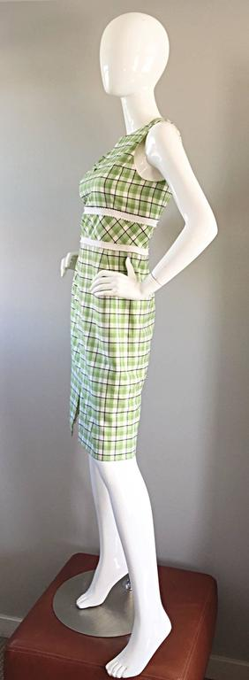 Oscar de La Renta c. 2001 for Saks 5th Ave. Green + White Checkered Plaid Dress  6