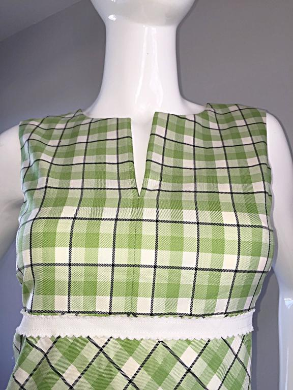 Oscar de La Renta c. 2001 for Saks 5th Ave. Green + White Checkered Plaid Dress  5