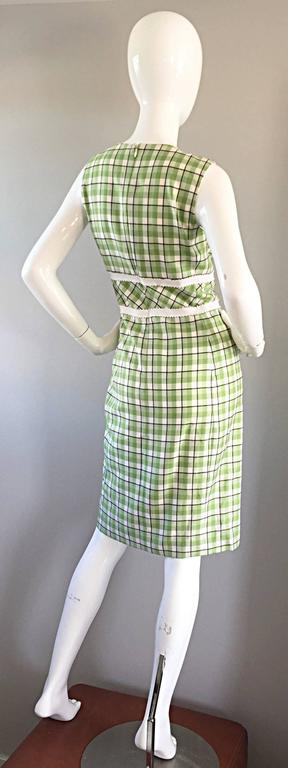 Oscar de La Renta Size 6 / 8 Saks 5th Ave Green + White Checkered Plaid Dress  For Sale 3