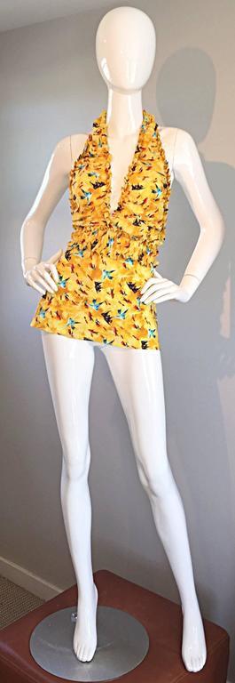Vintage Fendi by Karl Lagerfeld ' Fish ' Novelty Print Silk Halter Top  8