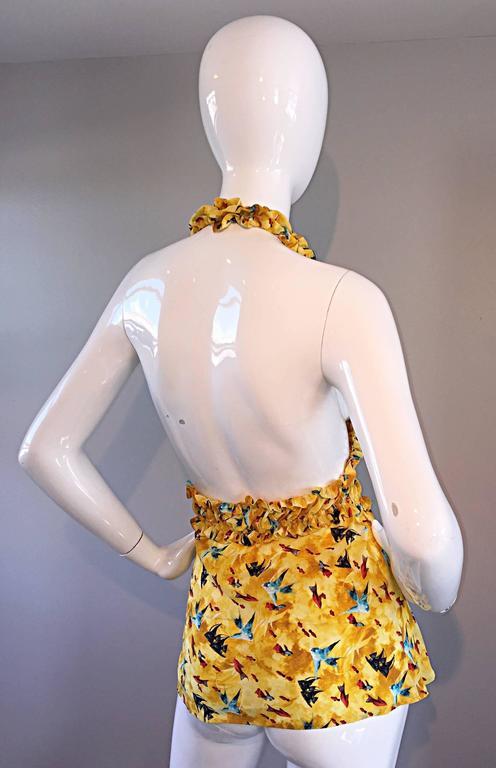 Vintage Fendi by Karl Lagerfeld ' Fish ' Novelty Print Silk Halter Top  7