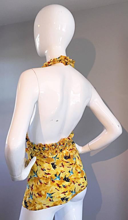 Vintage Fendi by Karl Lagerfeld ' Fish ' Novelty Print Silk Halter Top  5