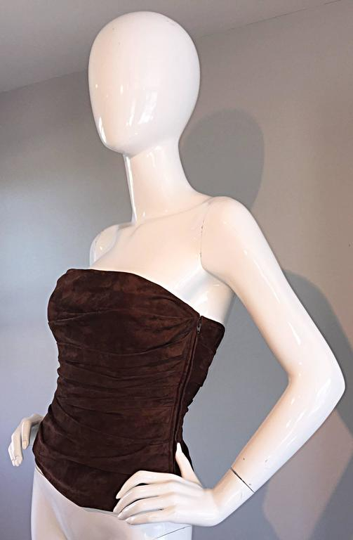 1990s Ralph Lauren Collection Brown Leather Suede Bustier / Vintage Corset Top 3