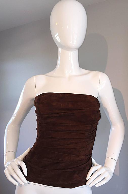 1990s Ralph Lauren Collection Brown Leather Suede Bustier / Vintage Corset Top 4