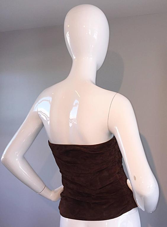 1990s Ralph Lauren Collection Brown Leather Suede Bustier / Vintage Corset Top 5
