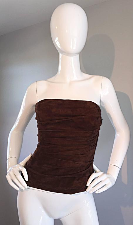 1990s Ralph Lauren Collection Brown Leather Suede Bustier / Vintage Corset Top 8
