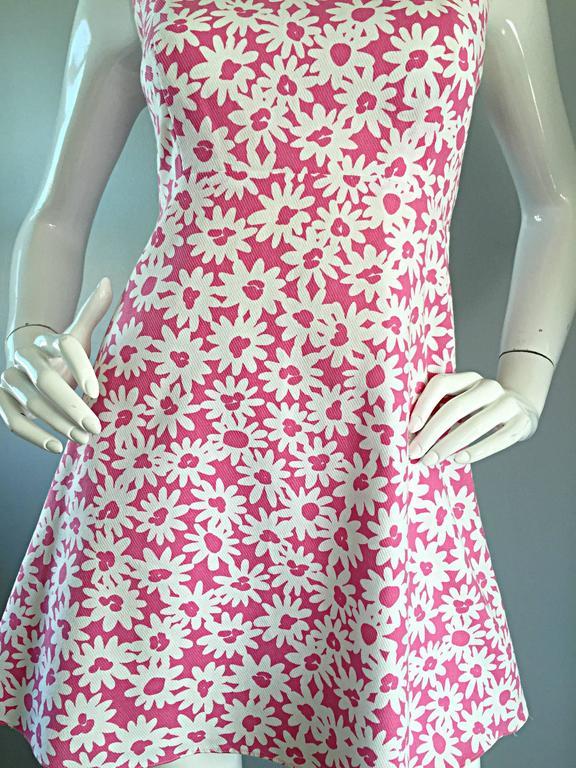 Beige Adorable 1990s Jill Stuart Pink + White Daisy Print A - Line 90s Babydoll Dress  For Sale