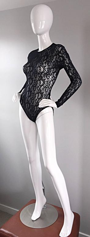 Vintage Calvin Klein 1980s Black Lace Sexy Long Sleeve 80s Bodysuit Onesie  6