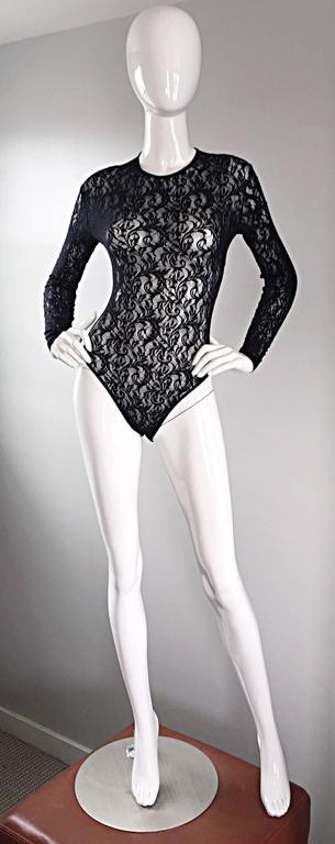 Vintage Calvin Klein 1980s Black Lace Sexy Long Sleeve 80s Bodysuit Onesie  9