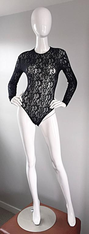 Vintage Calvin Klein 1980s Black Lace Sexy Long Sleeve 80s Bodysuit Onesie  2