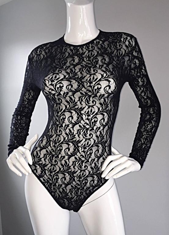 Vintage Calvin Klein 1980s Black Lace Sexy Long Sleeve 80s Bodysuit Onesie  4