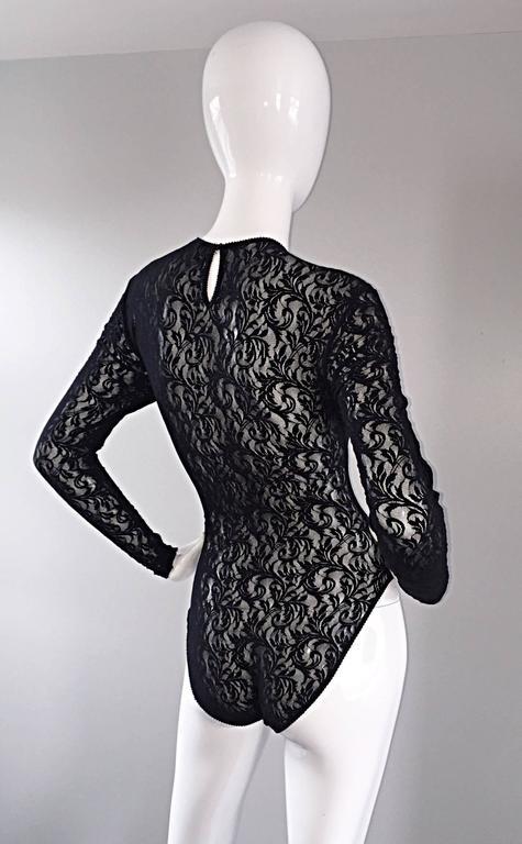 Vintage Calvin Klein 1980s Black Lace Sexy Long Sleeve 80s Bodysuit Onesie  5