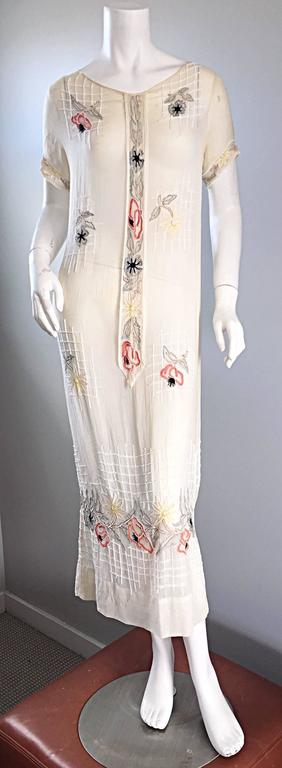 Rare 1920s B Altman Haute Couture Ivory Hand Beaded Cotton Voile Vintage Dress 2
