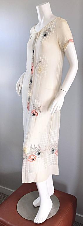 Rare 1920s B Altman Haute Couture Ivory Hand Beaded Cotton Voile Vintage Dress 4