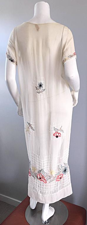 Rare 1920s B Altman Haute Couture Ivory Hand Beaded Cotton Voile Vintage Dress 6