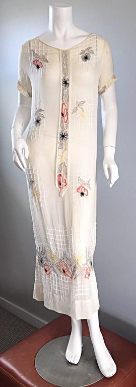 Rare 1920s B Altman Haute Couture Ivory Hand Beaded Cotton Voile Vintage Dress 9