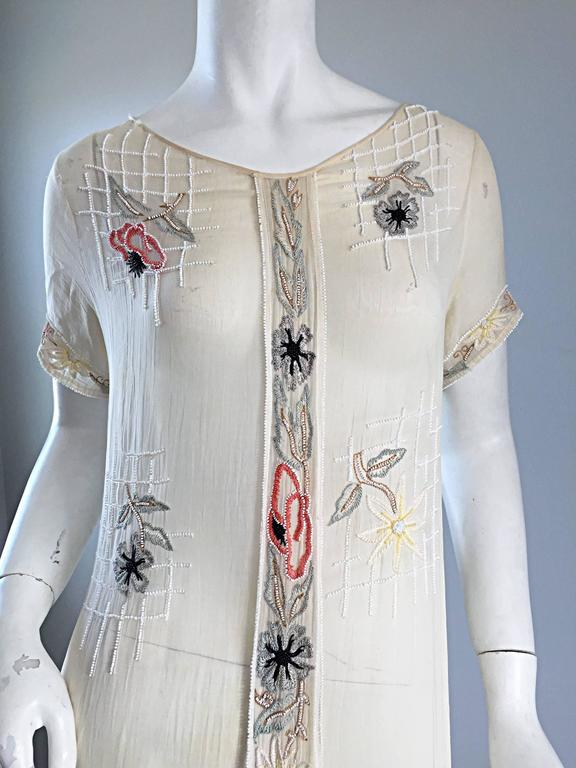 Rare 1920s B Altman Haute Couture Ivory Hand Beaded Cotton Voile Vintage Dress 5