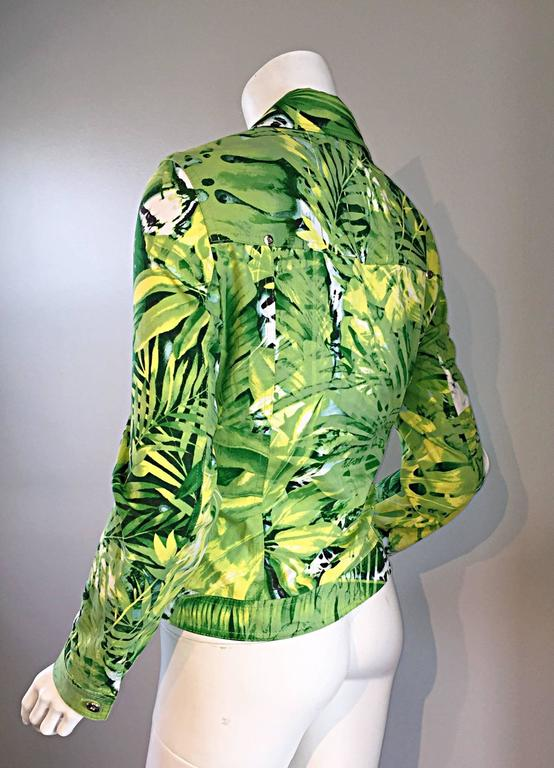 Women's Amazing New ESCADA Green + White ' Palm Trees ' White Denim Jacket  For Sale
