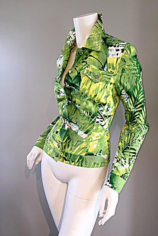 Amazing New ESCADA Green + White ' Palm Trees ' White Denim Jacket  For Sale 2